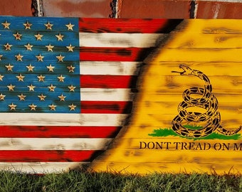 Wood American Flag, Gadsden Flag, Wood Flag, Wooden Flag, American Wood Flag, Wooden American Flag, Dont Tread On Me, Rustic Flag