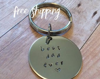 Men's Hand Stamped Personalized Custom Key Chain made in Colorado FREE SHIPPING Birthday Anniversary Wedding Sobriety Father's Day