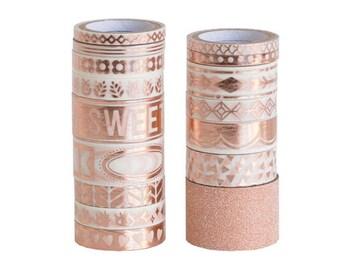 Rose Gold Washi Tape Set /  Planner Accessories / Masking Tape / Planner Supplies