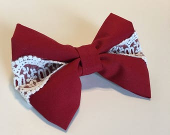 Fabric Hair Bow , Holiday Fabric Hair Bow , Christmas Hair Bows, Holiday Hair Bows, Holiday Hair Clip, Laced Hair Bow, Hair Bows