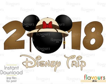 2018 Disney Trip Minnie Safari Hat - Animal Kingdom - INSTANT DOWNLOAD - Disney Iron On Transfer - DIY Disney Shirts