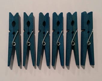 Clothespins, 6 Dyed Clothespins, 6 Aquamarine Clothespins, 6 Dyed Aquamarine Clothespins, Clothes Pins, Dyed Clothes Pins, Aquamarine