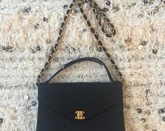 Vintage 90's CHANEL CC Turnlock Black Quilted Top Handle Purse Shoulder Crossbody Clutch Bag