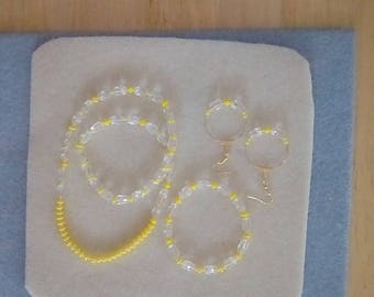 Yellow & Clear Beaded 3 pc. Necklace Set