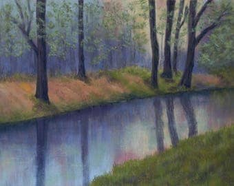 Woodland Reflections. Limited Edition Giclee Print of an Original Pastel. Signed and Mounted. Limited to 100 prints. River Landscape