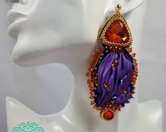Silk violet earrings