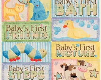 Baby's Firsts Frances Meyer Scrapbook Stickers Embellishments Cardmaking Crafts 4x4 Inch Sheet