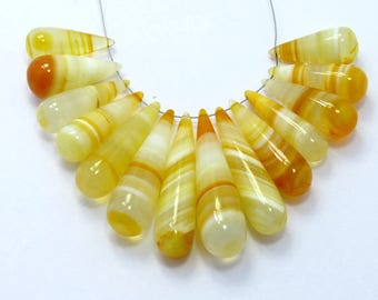 RARE !!! ~ Yellow Shaded Chalcedony Drops Briolettes 37X10 21X8MM Approx Good Quality On Whole Sale Price { CD-01}