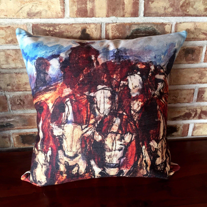 Modern Rustic Pillow : Rustic Modern Herding Cattle Linen Decorative Pillow Cover