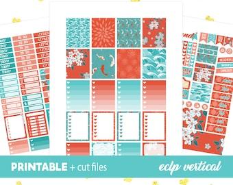 Printable Planner Stickers, Cricut PNG, Silhouette, Erin Condren June Sticker Kit, Oriental Stickers, Weekly Stickers Japan Koi
