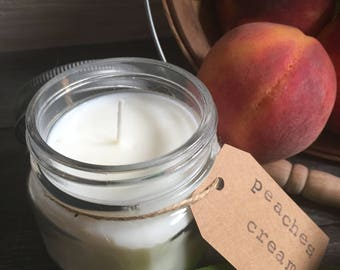 8 oz. Peaches & Cream Hand Poured Pure Soy Candle with Cotton Wick