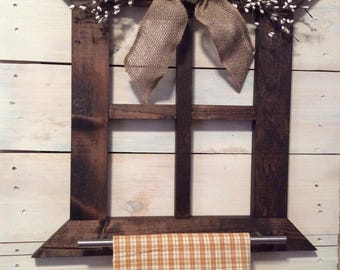 rustic hand towel holder bathroom primitive country home decor farmhouse wall decor kitchen or bathroom hand