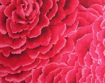 Quilting Cotton   Michael Miller Petals Fabric.  Red.  One Yd Available.