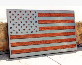 Wooden American Flag Wall Art metal american flag | etsy