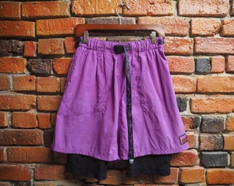 Women's 80s Purple Sport Shorts With Built In Black Mesh Short Leggings And Adjustable Waist Size Large