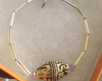Henna design beaded silver bracelet