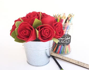 Red Felt Roses . One Dozen Red Roses . Valentine's Day Gift . Gift for Her . Forever Flowers with Rose Scented Oil