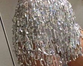 Sequinned droplet wrap effect skirt