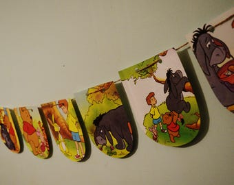 WINNIE THE POOH Paper Bunting The Pooh Bear Banner Kids Birthday Decor Nursery Room Decor