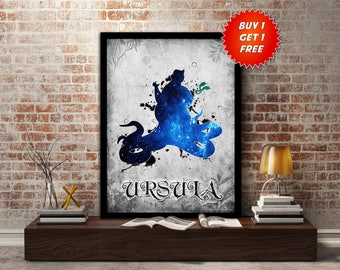 Ursula, Poster,Print, The little mermaid,Villain, Evil, under the sea,ocean,Fish,gift for her, wall, art,gift, gift for him,kids,Mothers Day