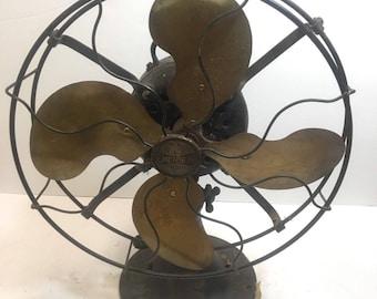 Antique Vintage Electric Fan, Emerson brass Fan model 26646
