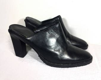8 | Colin Stuart black leather 90's style high heeled pointed toe mules