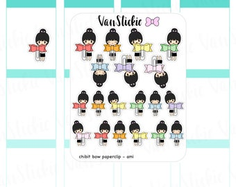 Chibit - Chibi with Bow paperclip (mix) Planner Stickers | VSC 041