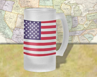 United States Flag Beer Mug, Beer Stein, Country Flag, Country Pride, Beer Glass, 16 oz., Frosted Mug, Beer Thinkers, Beer Lovers, Cold Beer