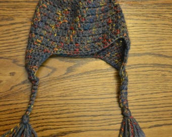 Gray multi-colored Crocheted Ear-flap Hat with pom-pom, 6-12 months