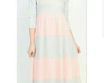 Pink and Grey Striped Maxi Dress