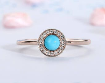 Turquoise engagement ring Minimalist Halo set diamond 14K Yellow gold Alternative Engagement Ring Simple Round Gem Birthstone jewelry