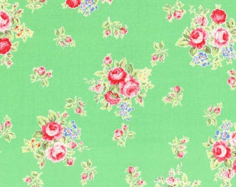 END OF BOLT - 1 Yard - Flower Sugar - Floral Collection - Green - Lecien - Shabby Chic Fabric - 100 % cotton , Quilting