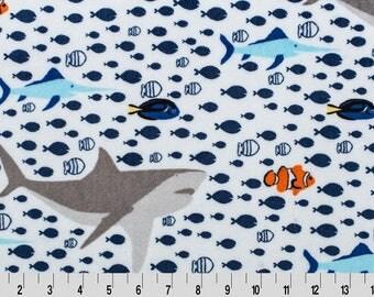 Shannon Minky Fabric, Under The Sea Cuddle Minky Fabric, Shark Cuddle Fabric, Fish Cuddle Minky Fabric, Minky Fabric by Yard, Minky Fabric