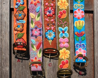 Funky cotton canvas belt with colourful embroideries