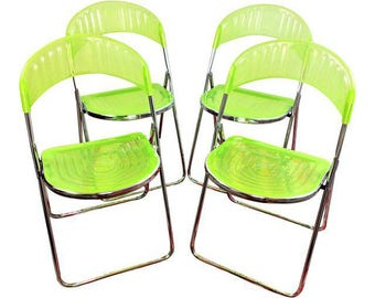 Vintage Mid Century Italian Lime Green Acrylic Chrome Folding Chairs Set 4  Italy