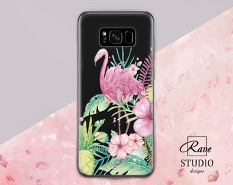 Pink flamingo Exotic phone case Flamingo and flower Tropical phone case s7 phone case Galaxy note 8 Samsung A 5 case Galaxy 7 Samsung A5