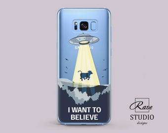 Flying saucer light Cow phone case Samsung 8 plus case Transparent case I believe UFO Flying saucer s7 edge case Cow cases Samsung A5 cover