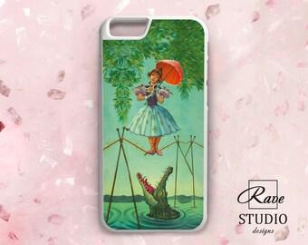 Girl with umbrella iPhone 8plus case Alligator phone case iPhone 7 plus Crocodile iPhone Rubber case iPhone 5s cover Acrobat art iPhone 8