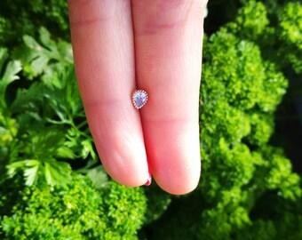 1 pcs helix lobe ear jacket screw behind water drop 5mm titanium mini size diament oxyde de zirconium minimaliste géométrique Stud ligne