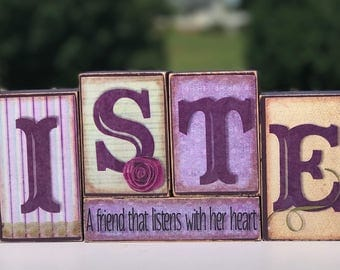 Sister - A Friend that listens with her heart - Wooden Block Set