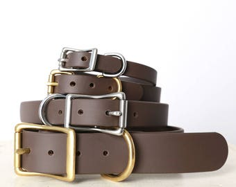 Brown Waterproof Smell Proof Handmade Dog Collar -- Classic Belt Buckle Style