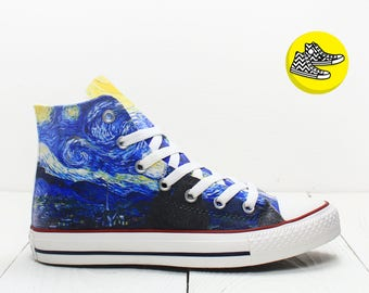 Starry Night Van Gogh custom converse all star sneakers fine art shoes design