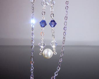 Purple Swarovski Crystal Lariat Necklace,Tanzanite Crystal Necklace, Purple Crystal Necklace,Tanzanite Y Necklace Crystal,Swarovski Lavender