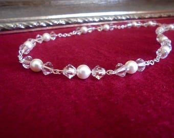 Swarovski Bridal Necklace, Swarovski Wedding Necklace, Bridal Crystal Pearl Necklace, Swarovski Crystal Necklace, Bridal Pearl Necklace