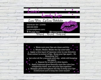 LipSense Business Card, Purple Lips with Black & White Stripes, Download, Printable, Personalized, SeneGence Business Card, How to Apply