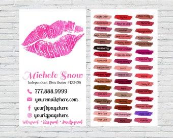 Lipsense Business Card, Lipsense Color Chart, Lipsense Colors, Senegence, LipSense, Lipsense, Lipsense marketing, Lipsense printable, Pink