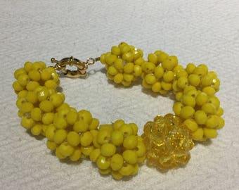 Yellow Glass Bead Bracelet, Handmade Bracellet