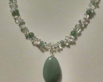 Green Aventurine and Quartz Teardrop Pendant Necklace