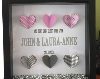 Wedding or Anniversay Frame with 3D Hearts & Names 'and they lived happily ever after'
