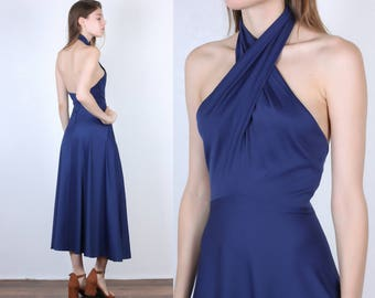 70s Party Dress // Vintage Boho Grecian Navy Blue Backless Maxi Midi Halter - Extra Small XS to Small